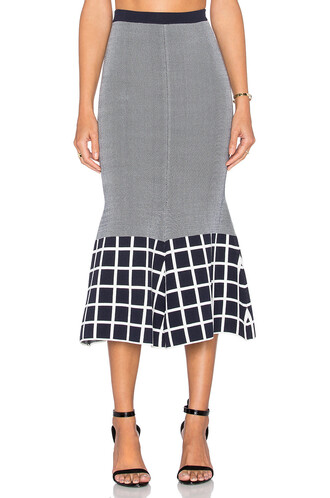 skirt knit white navy