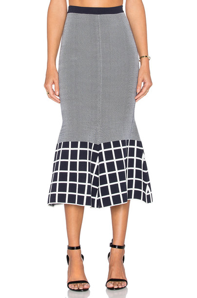 skirt knit white navy