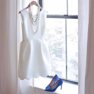 dress white dress scalloped scalloped dress white scalloped edges