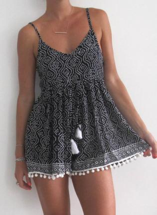 Black Jump Suits/Rompers - Black and White Pom Pom   UsTrendy