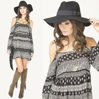 dress cold shoulder dress paisley paisley print dress bohemian dress boho dress wide brim hat wide brim black hat fedora angl angl clothing