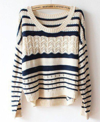 sweater knitted sweater blue and white cute sweater