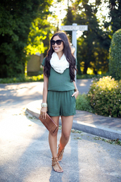 with love from kat,romper,scarf,shoes,bag,jewels,valentino rockstud,studs,studded sandals,brown sandals,black sunglasses,clutch,brown clutch,green romper,summer outfits,sandals,flat sandals
