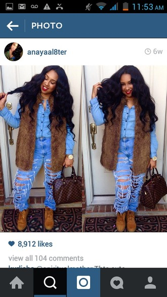 jeans fur timberland ripped jeans louis vuitton curly hair outfit high waisted jeans cute