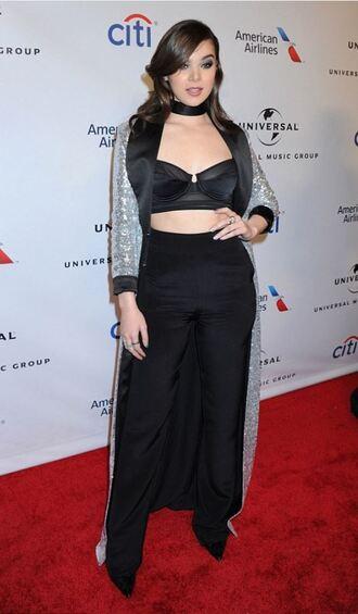 romper top bustier hailee steinfeld grammys 2016 coat bra jewels necklace jewelry black black choker choker necklace