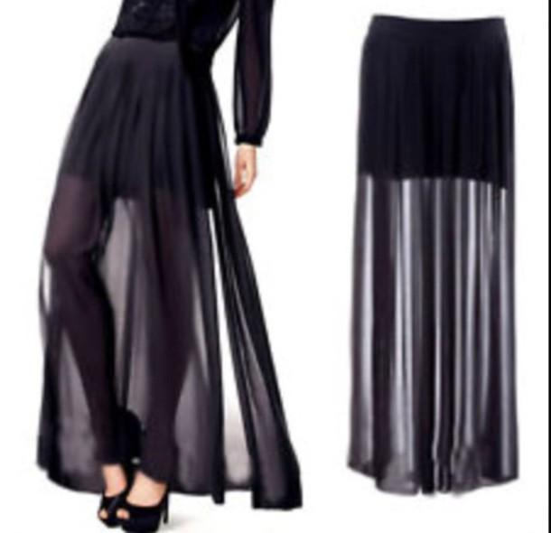 skirt black see through half long