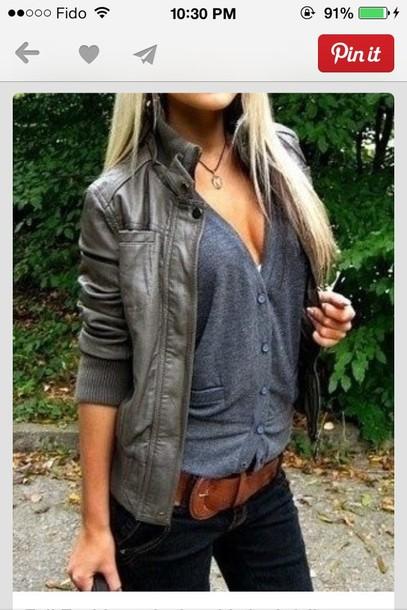 shirt grey leather blue botton
