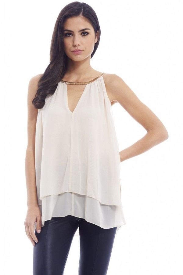 top champagne top champagne chiffon layered chiffon chain detail chain neck top sleeveless top www.ustrendy.com