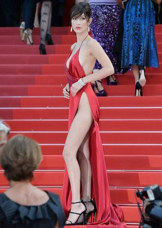 dress red dress red gorgeous bella hadid cannes v neck dress
