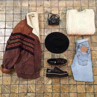 jacket brown jacket brown suede pattern fall outfits warm tribal pattern bomber jacket
