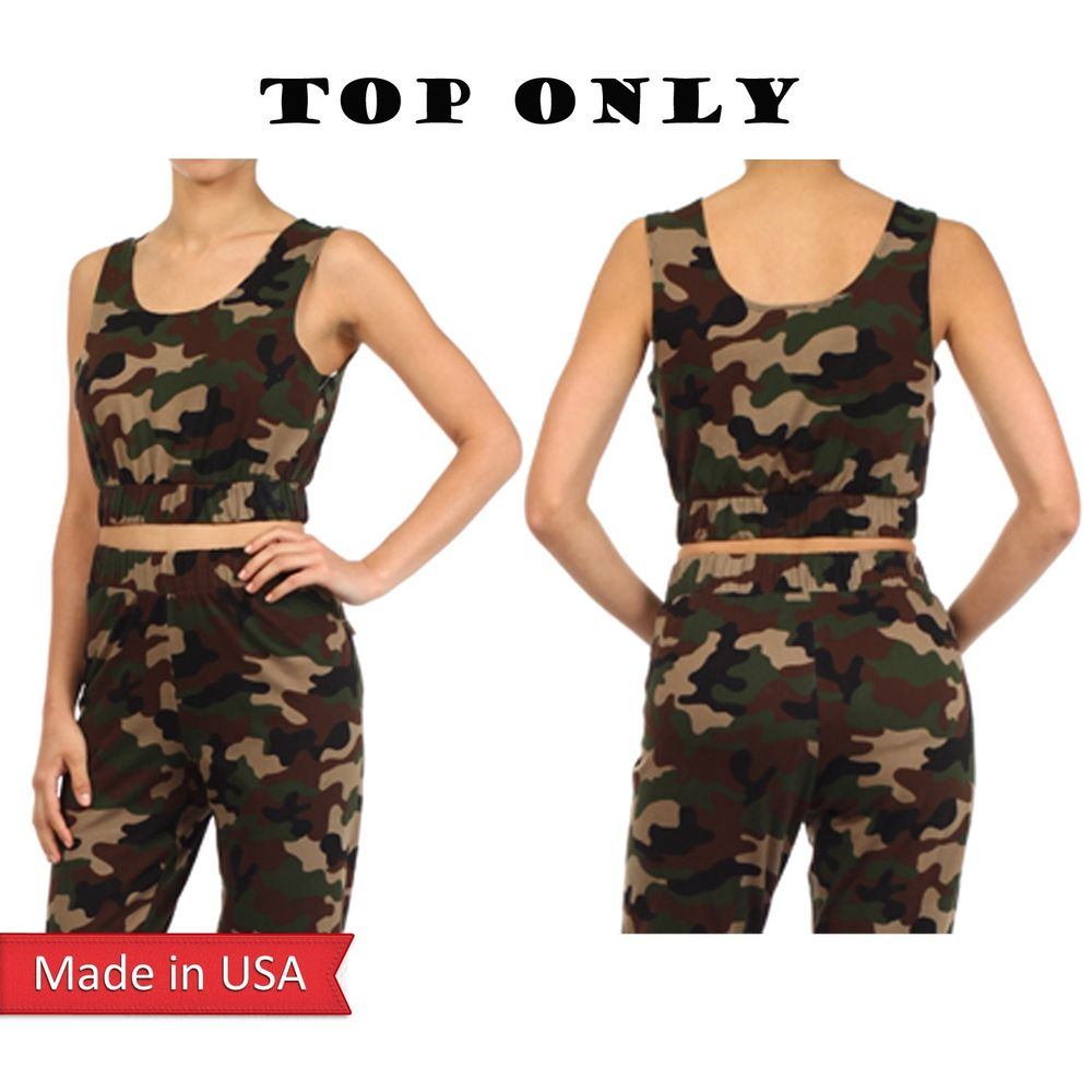 New Camouflage Camo Army Green Print Cropped Mini Short Sleeveless Tank Top USA