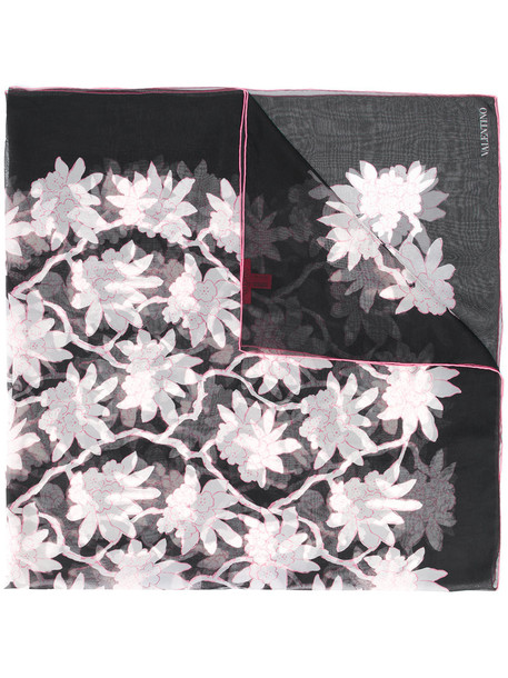 women scarf floral print black silk
