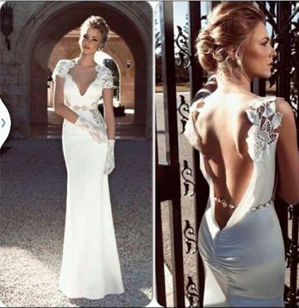 Dress wedding dress satin low back lace shoulder for Satin low back wedding dress