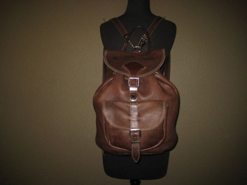 ROOTS Brown Leather Backpack Big Knapsack Bag CANADA | eBay