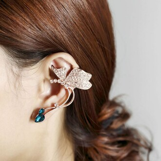 jewels butterfly full of cz inlaid gold plated cuff earring left ear evolees.com butterfly earrings butterfly fashion trendy women jewelry earrings silver earring accessories