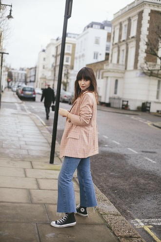 jacket blazer pink blazer sneakers peach jeans denim blue jeans flare jeans black converse high top converse converse