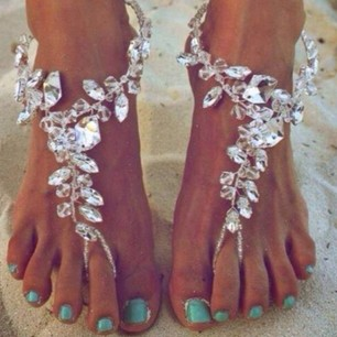 Crystal Barefoot Sandals for Beach Wedding - Juicy Wardrobe