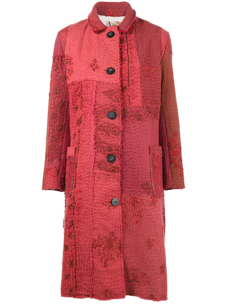 BY WALID coat embroidered women cotton wool red