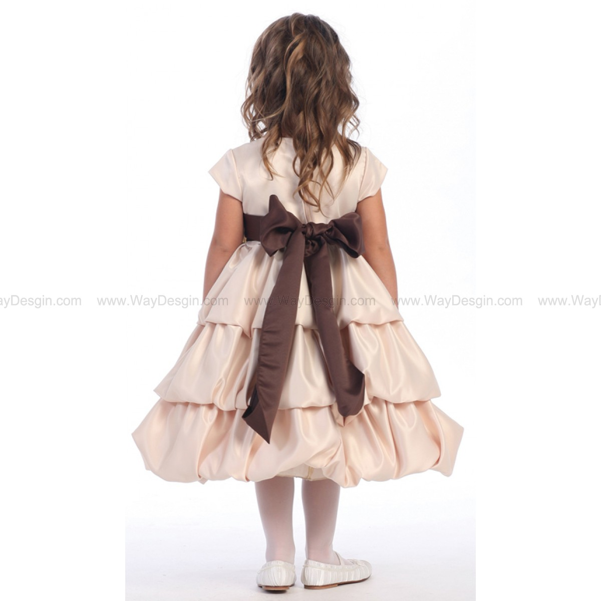 Blossom Champagne Three Layer Satin Bubble Dress Detachable Sash & Flower
