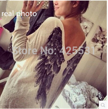 Feathers print women sweater, quality new style sexy v neck women sweater, autumn angel wing print sweater