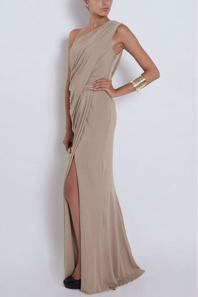 cream dress one shoulder long evening dresses