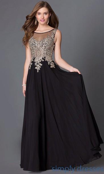 dress, gold jewelry, black dress, evening dress, prom dress - Wheretoget