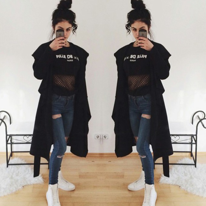 Jeans Coat Tumblr Black Jeans Shoes Coat Top