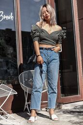 top,crop tops,jeans,mules,sunglasses,belt,crossbody bag
