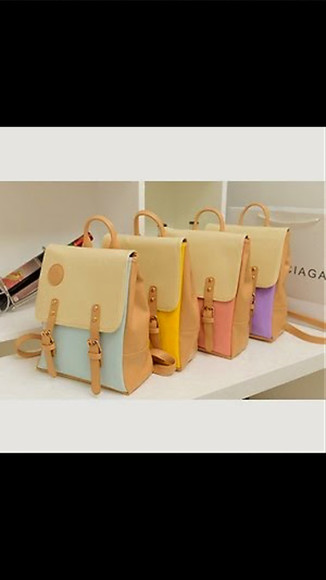 pastel cute bag leather backpack