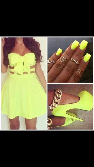 dress neon neon yellow gold chain heels nail polish high heels