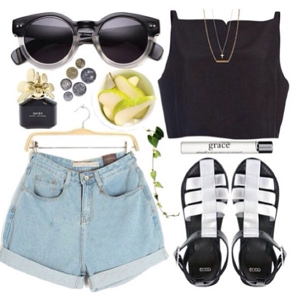 sunglasses black black crop top black sunglasses sandals black sandals natural green nature white tumblr t-shirt shirt shoes shorts jewels