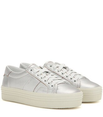 metallic sneakers platform sneakers leather shoes