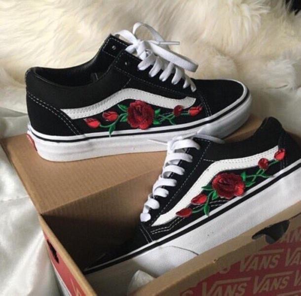 Shoes Black Vans Roses Wheretoget