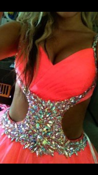 dress pink coral dress bling open front straps homecoming dress