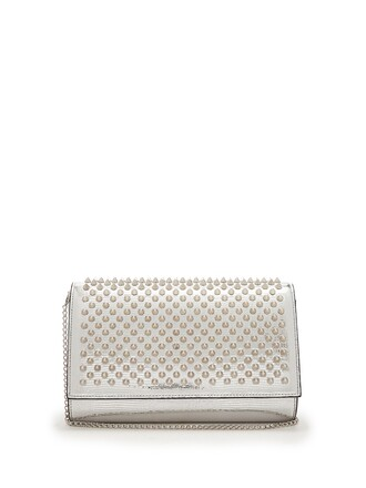 leather clutch embellished clutch leather silver bag