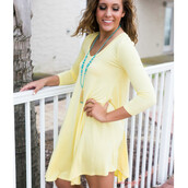 dress,flowy,v neck,cozy,fitted arms,long sleeves,yellow,pastel