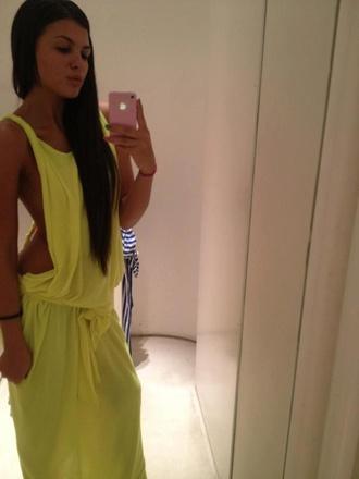 dress long dress wow vintage beautiful yellow maxi dress edgy backless