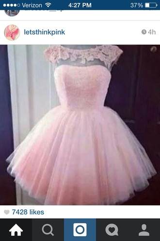 dress pink short lace flowers homecoming dress party dress