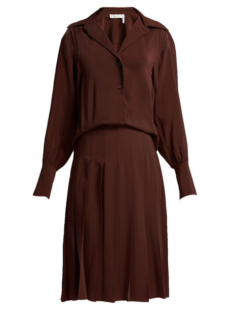 CHLOÉ Pleated silk crepe de Chine shirtdress in brown