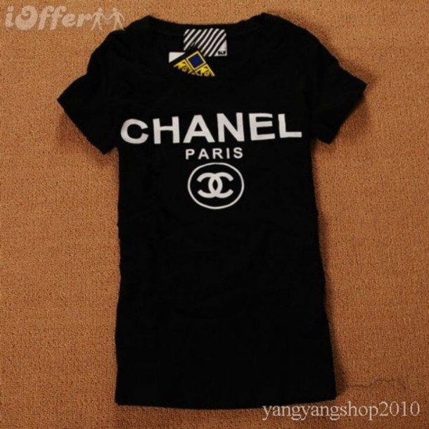 t-shirt black t-shirt white paris shirt chanel chanel t-shirt