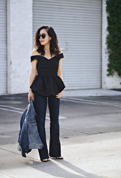 hallie daily blogger ruffle black top off the shoulder denim jacket