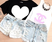 shorts,studs,bleached,heart,t-shirt,jewelry,shirt,High waisted shorts,sleeveless,tank top,chanel,studded shorts,love,top