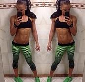 pants,green,ombre,workout,capri