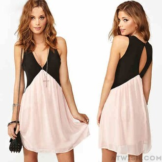 dress chiffon hollow dress deep v neck sexy dress black pink