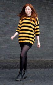 sweater,yellow sweater,striped top,karen gillan,knitted sweater