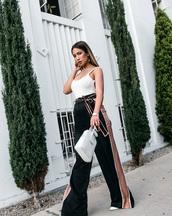 pants,tumblr,black pants,wide-leg pants,top,white top,bodysuit,bag,white bag,handbag