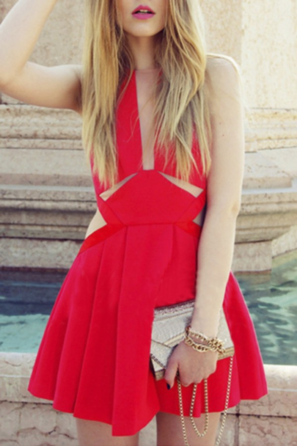 dress red classy style summer party elegant trendy beautifulhalo red dress party dress cocktail dress gamiss