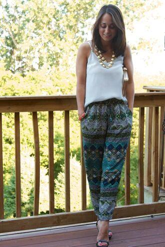 pants silk pant boho bohemian african print blue loose