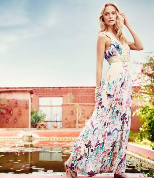 dress maxi dress floral floral dress summer dress summer outfits poppy delevingne floral maxi dress