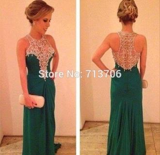 dress green dress homecoming dress beads prom dress graduation dress